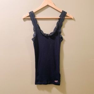 Hollister Navy Blue Lace Tank Top-Small